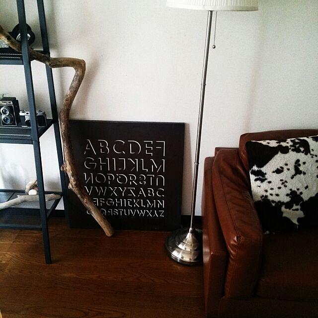 Lounge,アート,フレーム,流木,モノトーン,白黒,賃貸,IKEA,間接照明,3Coins jasmineの部屋