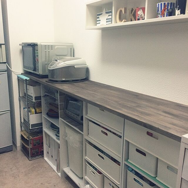 Kitchen,ニトリ,カラーボックス,インボックス,カップボードDIY,セリア Kumipohの部屋