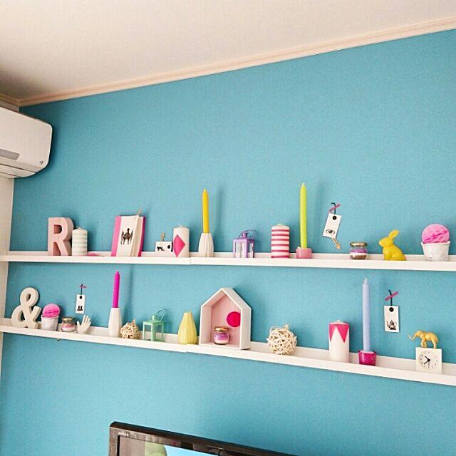 On Walls,カラフルな部屋,こどもと暮らす。,IKEA,IKEAのアート用シェルフ,カラフル雑貨,キャンドル,フライングタイガー,セリア,ダイソー,インスタやってます♡,インスタID→yukanenko1022 Yukanenkoの部屋