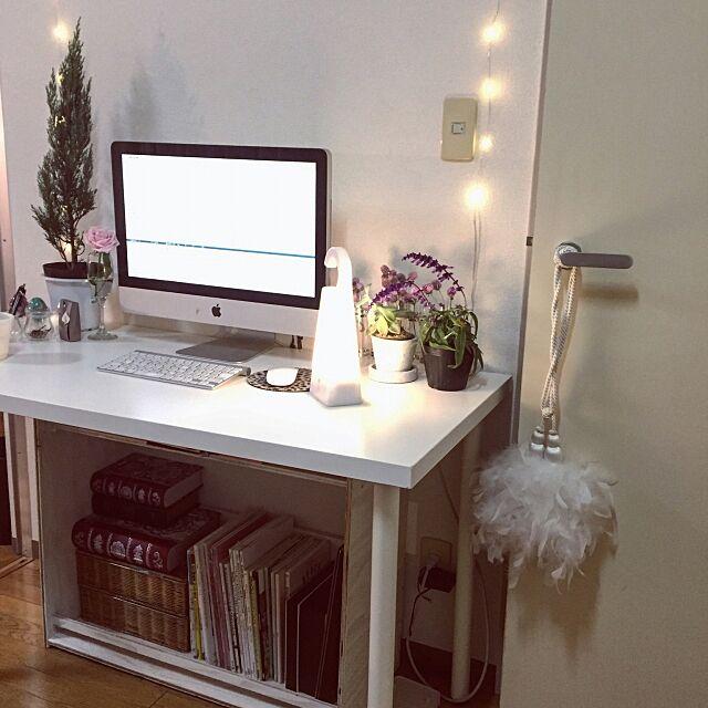 Overview,フェアリーライト,DIY棚,Mac,IKEAデスク,DIY,無印良品 照明,無印良品 makigonの部屋
