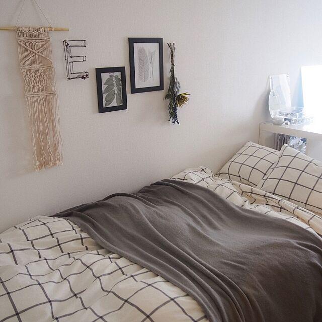 Bedroom,アート,スワッグ,ボヘミアン,一人暮らし,インテリア,北欧,ハンドメイド yukey.mの部屋