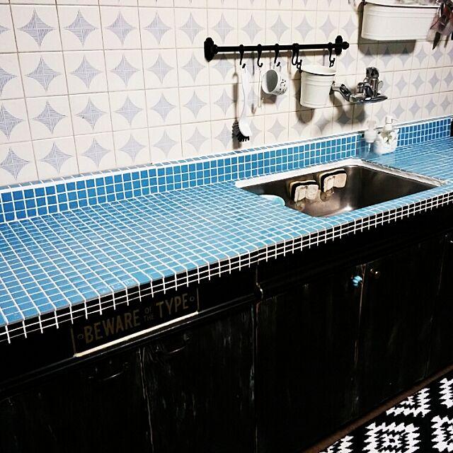 Kitchen,レトロ,タイルキッチン,ブラック,男前,手作り,タイル貼り,タイルDIY,ブラック♪,DIY,アンティーク Mikiの部屋