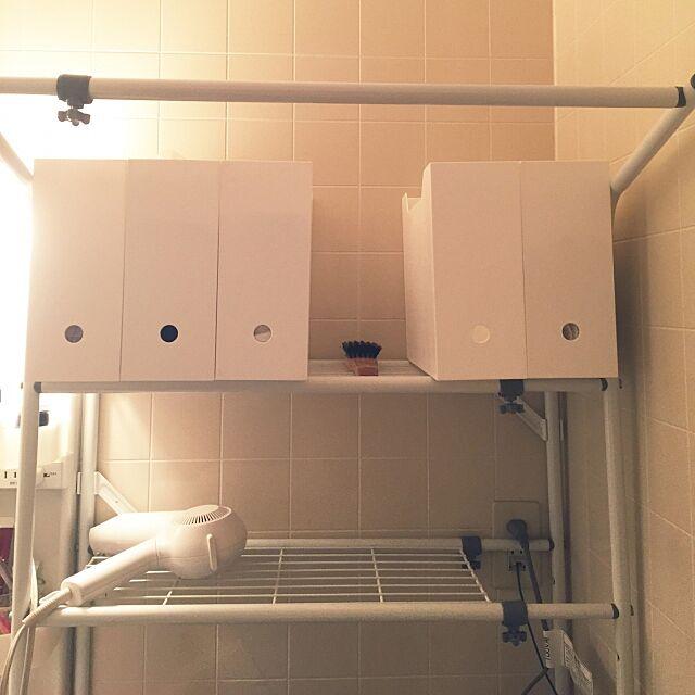 Bathroom,タオル収納,ニトリ,ファイルケース,賃貸 Kaneyukiの部屋