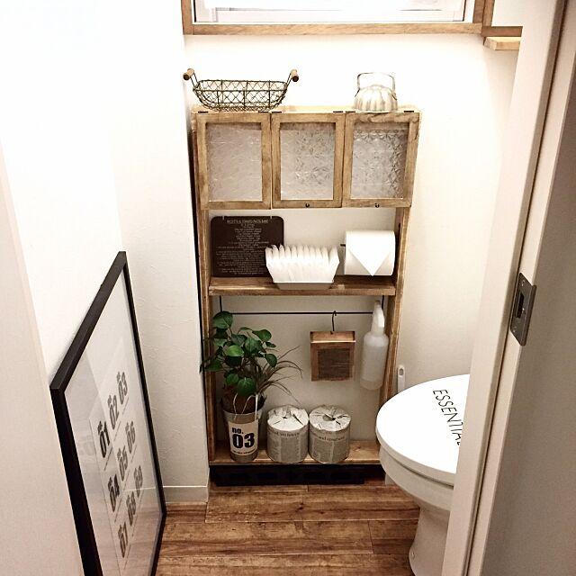 端材と100均,DIY,トイレ,収納,大掃除,古材風,クッションフロア,ディスプレイ収納 takimoto-manamiの部屋