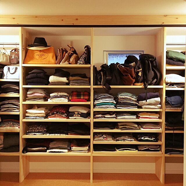 My Shelf,洋服収納,見せる収納,ウォークインクローゼット,オーダー家具,クローゼット,パイン材,木が好き,bino wave ayaya.hanaの部屋