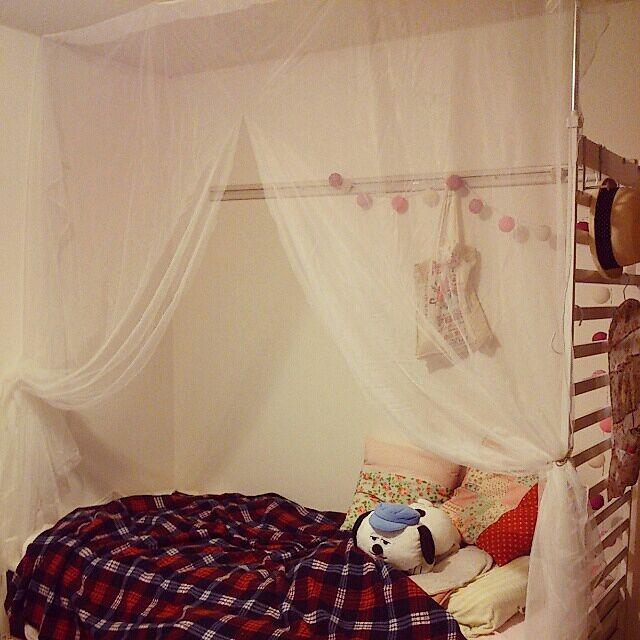Bedroom,一人暮らし,ワンルーム,照明,雑貨,天蓋 maikoooの部屋