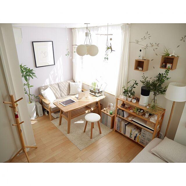 Lounge,ナチュラル,無印良品,ワンルーム,一人暮らし,カフェ風,北欧,シンプル,観葉植物,フェイクグリーン,ソファ ponsukeの部屋