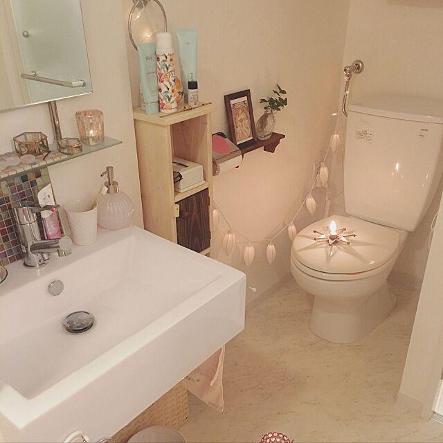 Bathroom,一人暮らし,ナチュラルキッチン,キャンドル,雑貨,照明,ユニットバス konoの部屋