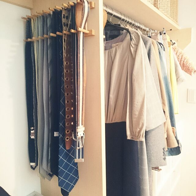 Bedroom,クローゼット,クローゼット収納,ベルト収納,ネクタイ収納,ダイソー,100均 shiokoの部屋