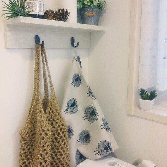 Bathroom,無印良品,壁に付けられる家具,北欧,セリア,キッチンタオル,洗濯機,洗濯機周り yuzukoの部屋
