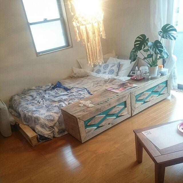 Bedroom,モンステラ,パレットベッド,1K,8畳,ニトリ,仕切り ayaの部屋