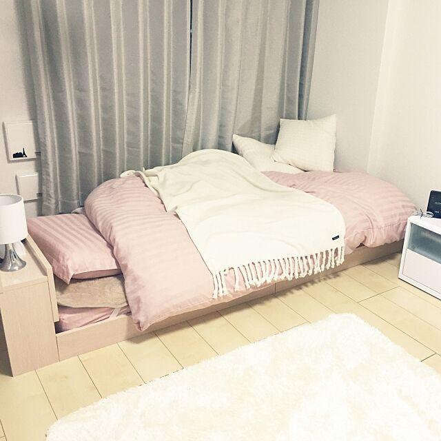Bedroom,Francfranc,ローベッド,ベッド,ニトリ,一人暮らし,ひとり暮らし,カーテン,1K misakigtの部屋