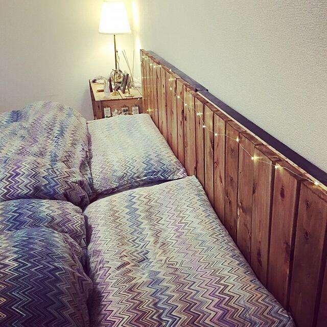 Bedroom,布団,枕,MISSONI,BRIWAX ラスティックパイン,BRIWAX,ヘッドボード,フェアリーライト,IKEA照明,IKEA,DIY makigonの部屋