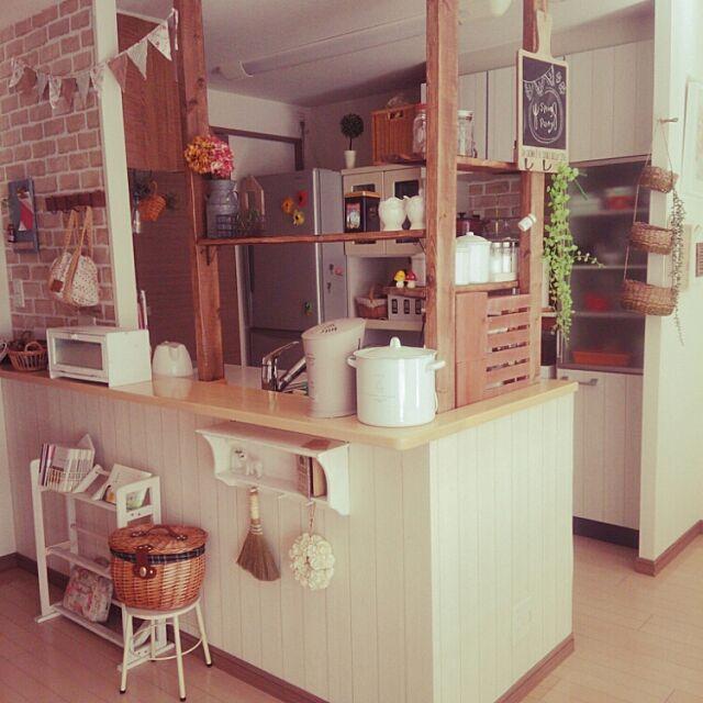 Kitchen,リメイクシート,ディアウォール,ナチュラルキッチン ,カフェ風キッチンに憧れて,3Coins,セリア,salut!,キッチンカウンター kinokomamaの部屋