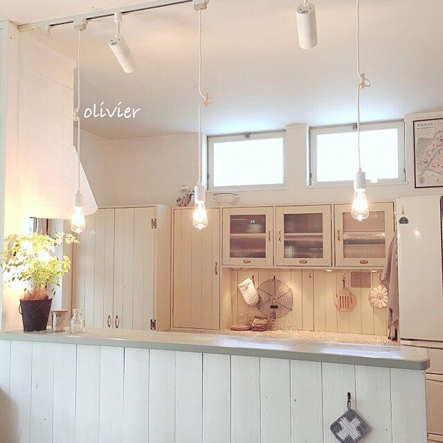 Kitchen,無印良品の照明,RC九州支部,食器棚DIY,キッチンボードDIY,後藤照明,NO GREEN NO LIFE olivierの部屋