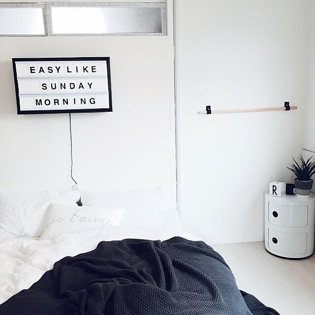 Bedroom,DIY,コンポニビリ,モノトーン,ホワイトインテリア,模様替え♪,段ボールリメイク,H&M HOME,窓付き漆喰壁DIY,bxxlght風,sodahl,ファーンウッド・ミカド,サンスベリア,海外インテリアに憧れる chiiiii0808の部屋