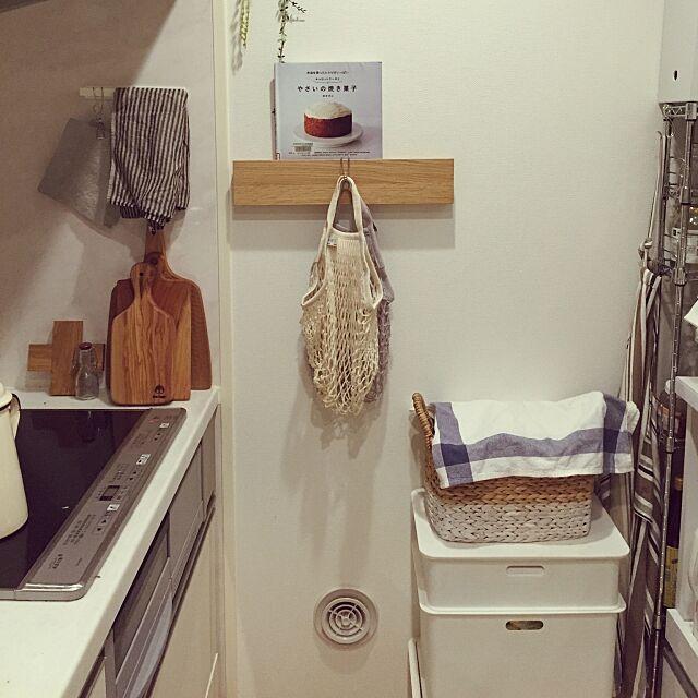 Kitchen,filtネットバッグ,ラッセントレー,カッティングボード,ウッドボード,無印の壁に付けられる家具,キッチン壁,無印良品,賃貸,北欧,雑貨,ホワイト×木 Managorouの部屋