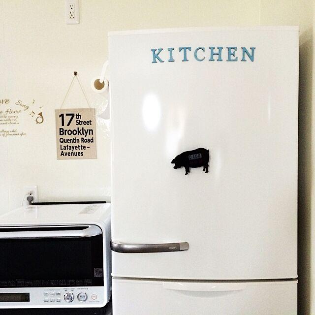 Kitchen,冷蔵庫のマグネット,マグネット作り,マグネットシート,ミルクペイント,ナチュキチのアルファベット,ナチュキチ,ダイソー Maniの部屋