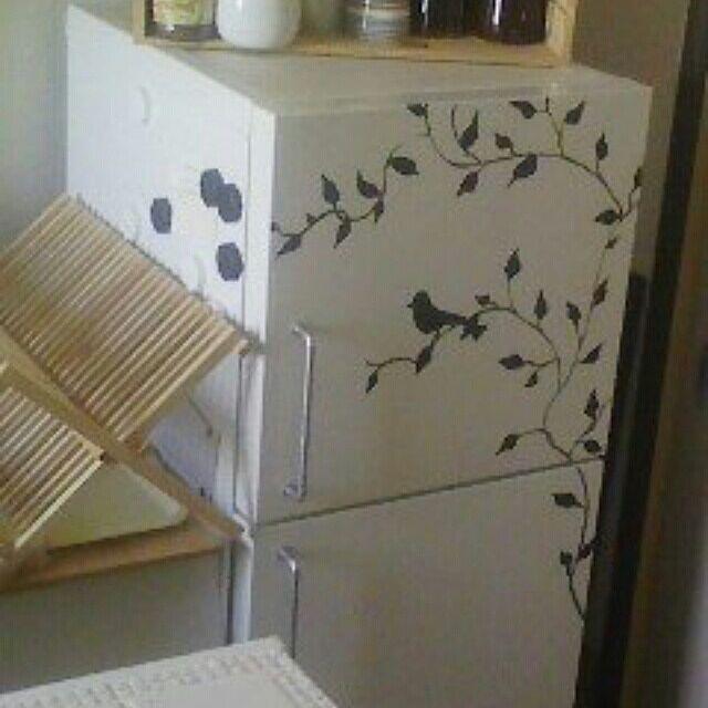 Kitchen,無印良品冷蔵庫,冷蔵庫を可愛くしたい,アクリル絵の具 cocoa-winterの部屋