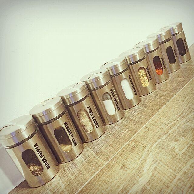 Kitchen,スパイス入れ,調味料ボトル,詰め替え,調味料入れ,スパイスボトル,キャンドゥ,自作ラベル bee3339の部屋
