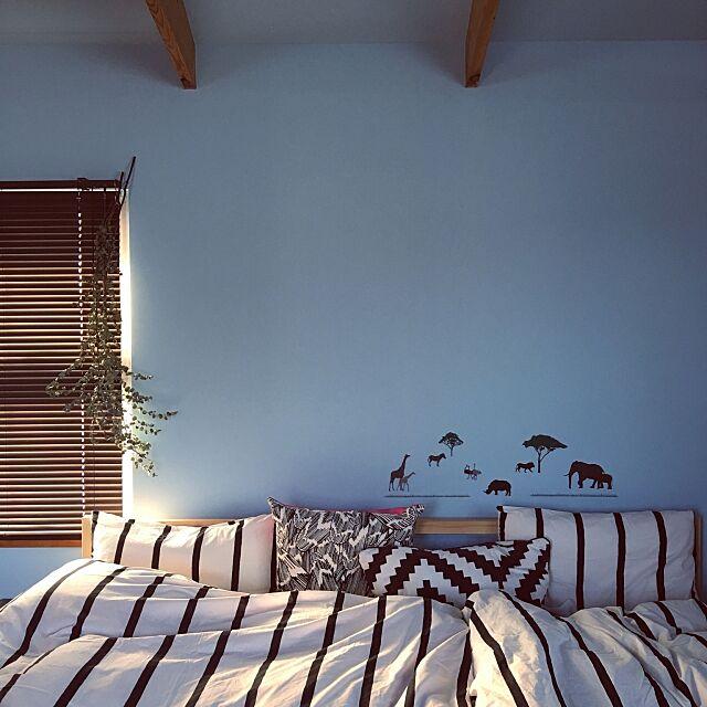 男前,Bedroom,ユーカリドライ,IKEA,NO GREEN NO LIFE,ドライフラワー,ウォールデコ,ダイソー,ニトリ ananya___の部屋