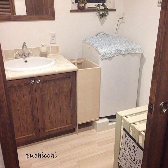 Bathroom,2015.2.23,ユーカリリース,DIY,すのこ棚DIY,洗濯物入れDIY puchicchiの部屋