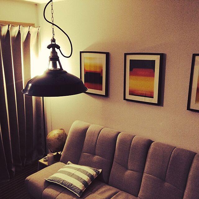Lounge,アート作品,照明好き,ほうろう好き,賃貸,男部屋,ひとり暮し,賃貸でも楽しく♪ ari6196の部屋