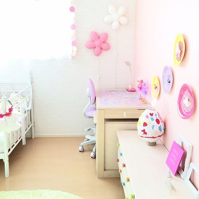 Overview,生活雑貨,IKEA 照明,IKEA,パステルカラー,子供部屋女の子,ダイソー,子供部屋,100均,学習机,紙皿,額縁,子供部屋 壁,色紙,うさぎ,リメイク,セリア Riiの部屋
