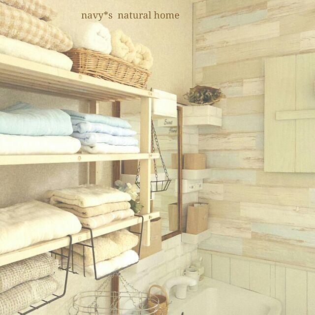 Bathroom,ガーゼタオル,サニタリー,壁紙屋本舗 古木風壁紙,タオル収納,洗面台リメイク,ブログ更新しました ..*,いつもいいね、ありがとぅございます♡ navyの部屋