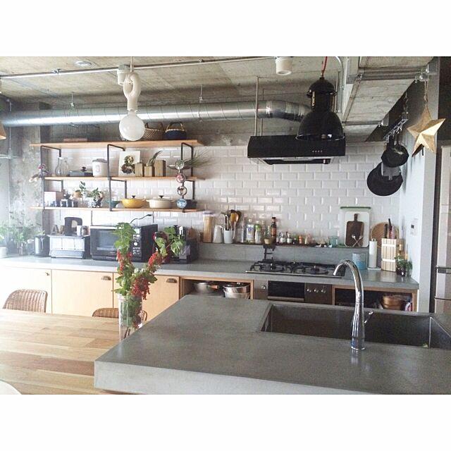 Kitchen,オルネドフォイユ,IDEE,ADVANタイル,星,房すぐり,インダストリアル,Ⅱ型キッチン,サブウェイタイル,コンテスト参加 aaniの部屋