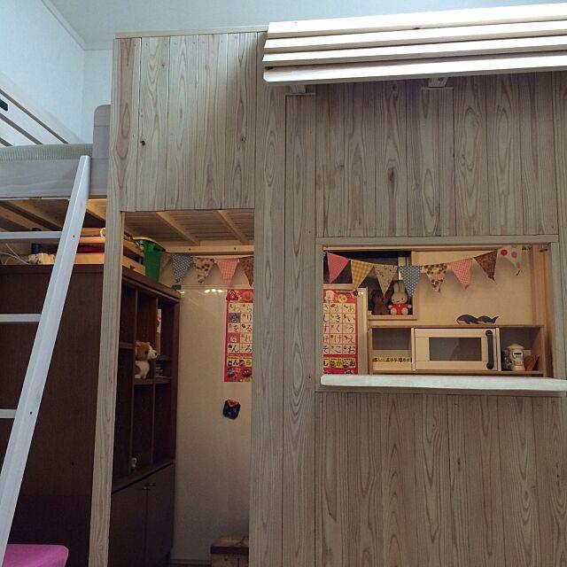 Bedroom,ロフトベッド,リーディングヌック,DIY,ハンドメイド,キッズハウス,ままごとキッチン,キッズスペース kerotamaの部屋