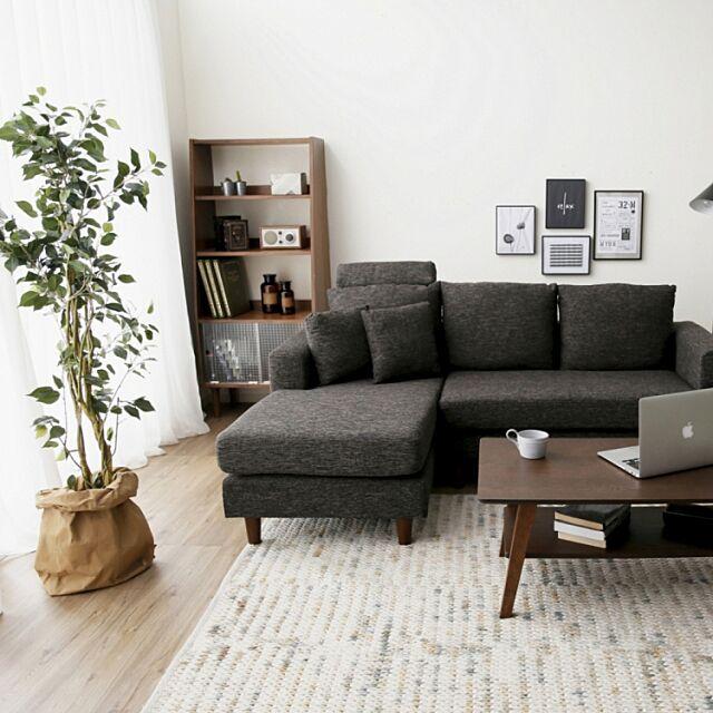 カフェ風インテリア,カフェ風リビング,LOWYA,家具通販のロウヤ,観葉植物,グリーンのある生活,グリーンのある暮らし,ソファ,リビング,ブラウン,シンプル LOWYAの部屋