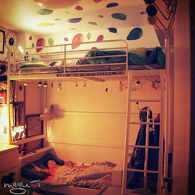 Bedroom,IKEA,ロフトベッド,二段ベッド風,風船のウォールステッカー,子供の寝室 megu-iの部屋