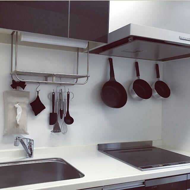 男前,Kitchen,モノトーン,かける収納,無地派,収納,シンプル,安い,ダイソー,ミニマル,ものを置かない koalanの部屋