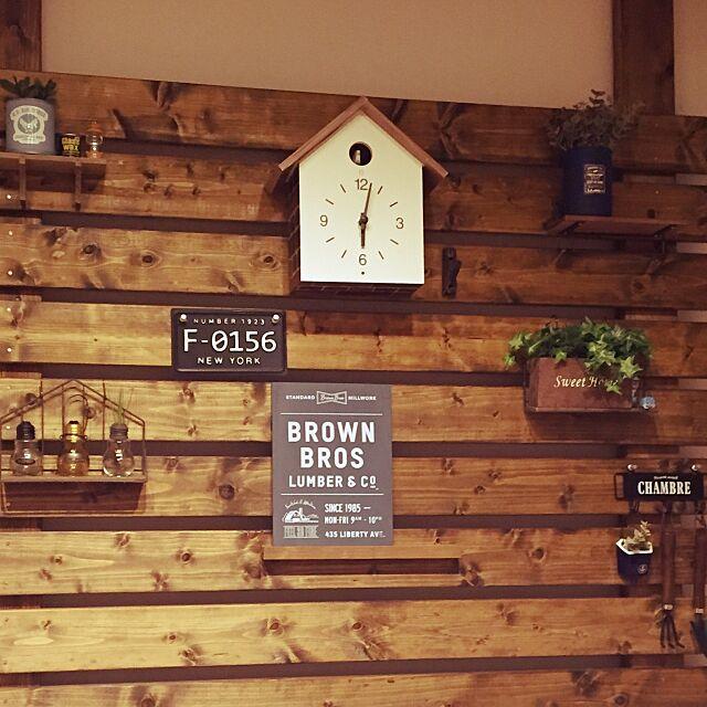 On Walls,ディアウォール,100均,セリア,多肉植物,鳩時計・大,無印良品,リメ缶 tomoppyの部屋