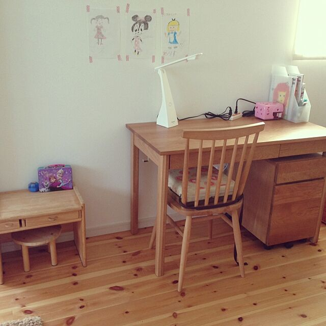 Lounge,手作り家具,無印良品,無垢材デスク(引出付)オーク材,モモナチュラル,momo natural,無垢材デスクキャビネット(引出2段) mikisaeの部屋