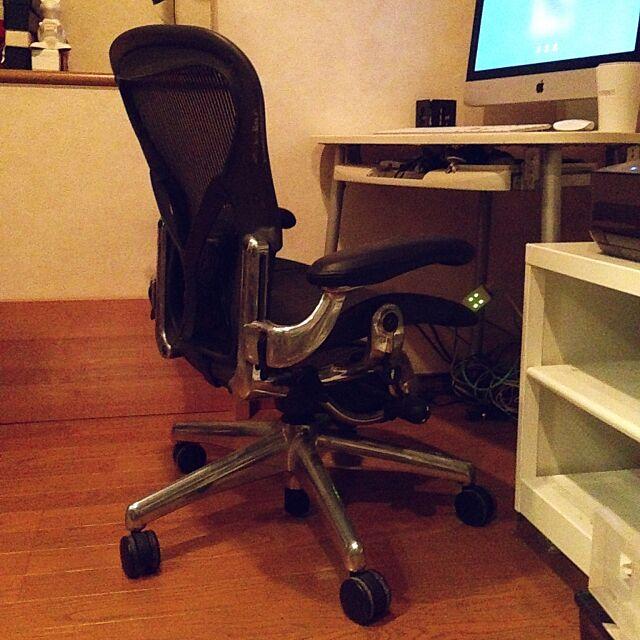 My Desk,デザイナーズ,アーロンチェア,iMac,ハーマンミラー,ポリッシュドアルミニウム,日本人にはBサイズでぴったりです,自宅デスク KAZの部屋