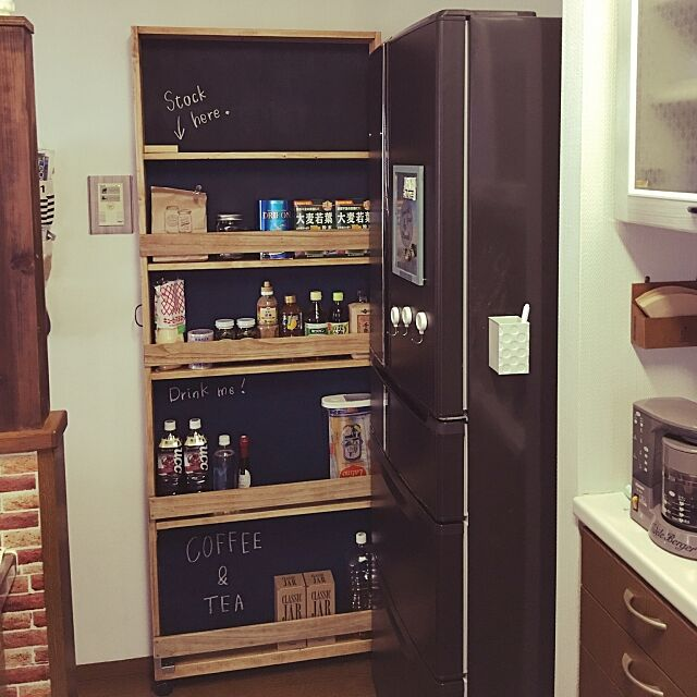 Kitchen,ダイソー黒板塗料,冷蔵庫横,ストッカー,すきま収納,隙間収納DIY,リミア⇨mont-blue☆imoan,アメブロやってます♪,ブライワックス,DIY,LIMIAやってます,ブライワックス・ラスティックパイン mont-blueの部屋