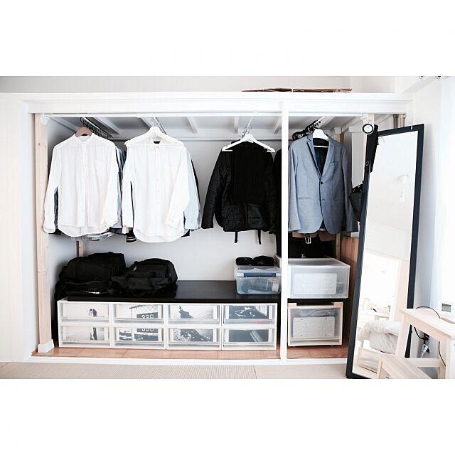 My Shelf,ポリプロピレンケース,衣類収納,クローゼット,クローク,押入れリメイク,インテリア,賃貸,押入れ,押入れ改造,無印良品,無印,団地,リノベーション,丁寧な暮らし,収納,IKEA,シンプルライフ,モノトーン,DIY,イケア,リメイク,ホワイトインテリア,PPケース,ディアウォール plus9の部屋