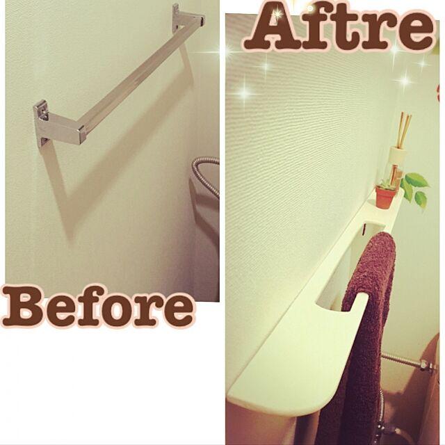Bathroom,タオルかけ,トイレ,DIY,100均,ふたり暮らし,ハンドメイド kiyonobumiの部屋