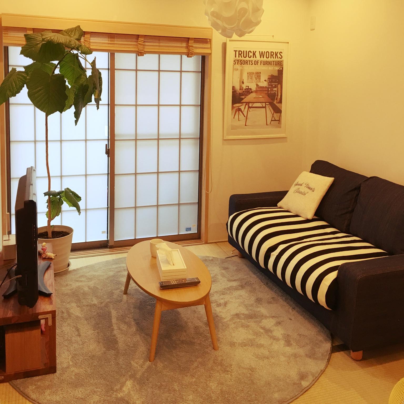 女性で、4LDK、家族住まいの和室のインテリア/北欧インテリア/建売住宅/ボーダー/四畳半和室/無印良品…などについてのインテリア実例を紹介。