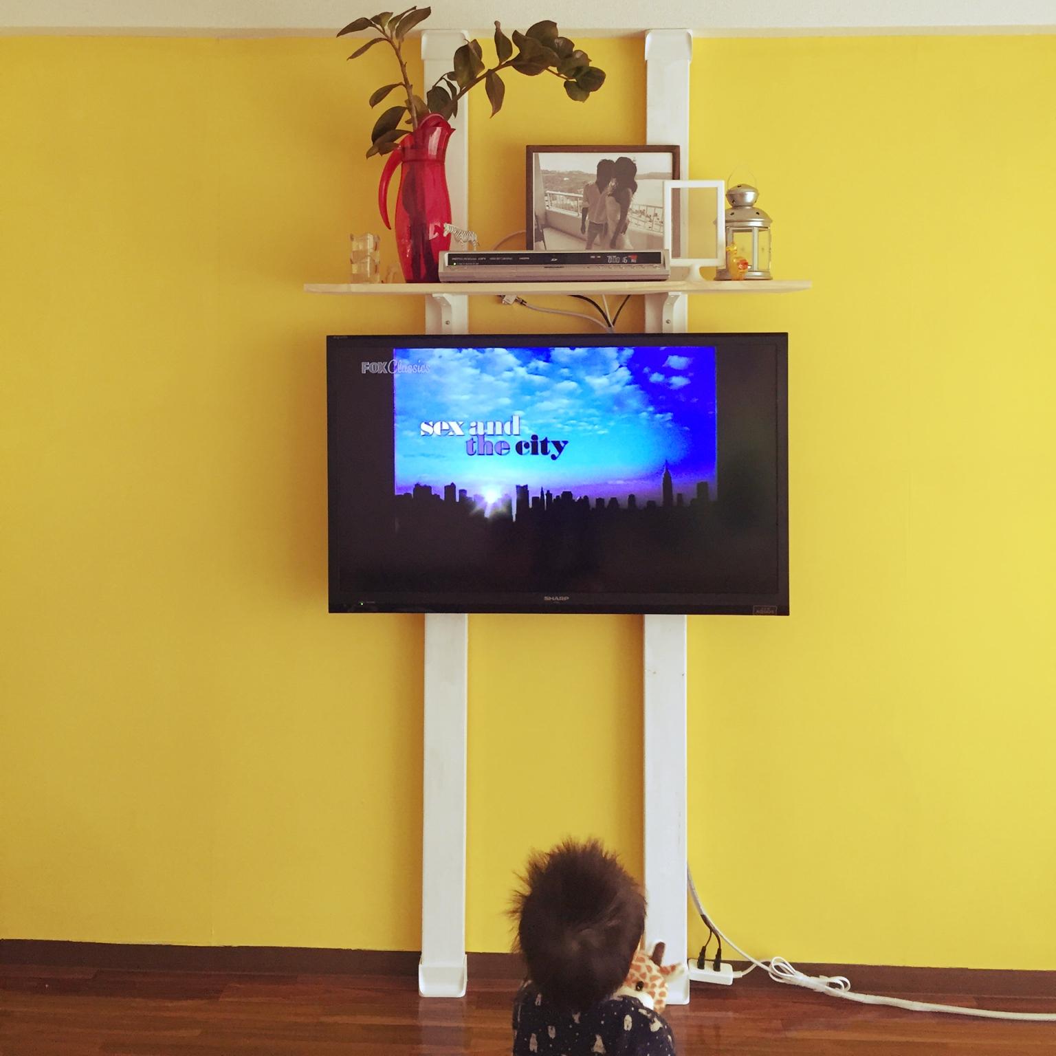 女性で、3LDK、家族住まいの賃貸でも諦めない!/賃貸DIY/テレビ/フォトフレーム/100均/IKEA…などについてのインテリア実例を紹介。
