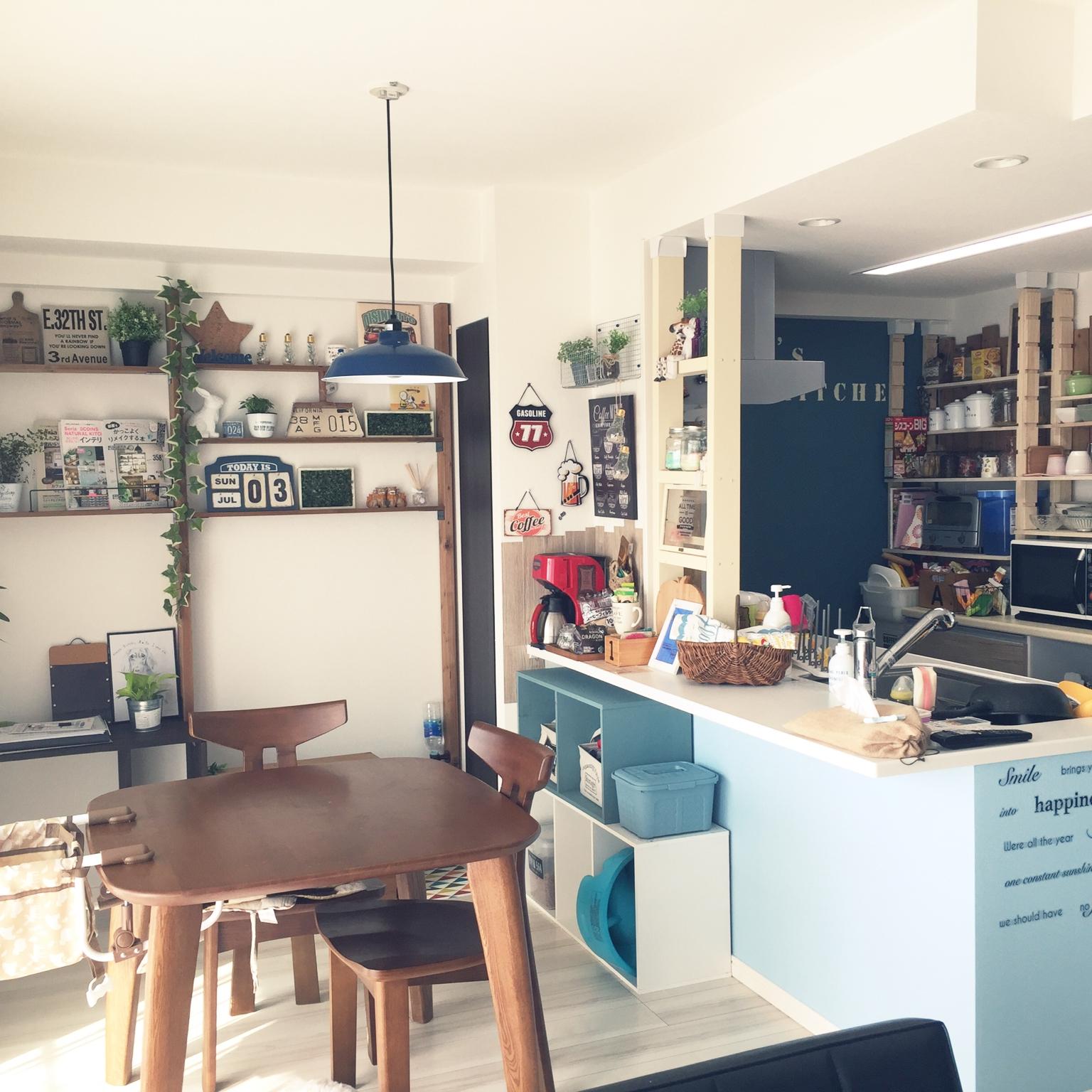 女性で、3LDKのキッチン/サリュ/観葉植物/カインズ/わんこと暮らす家/カリフォルニアインテリアに憧れる…などについてのインテリア実例を紹介。