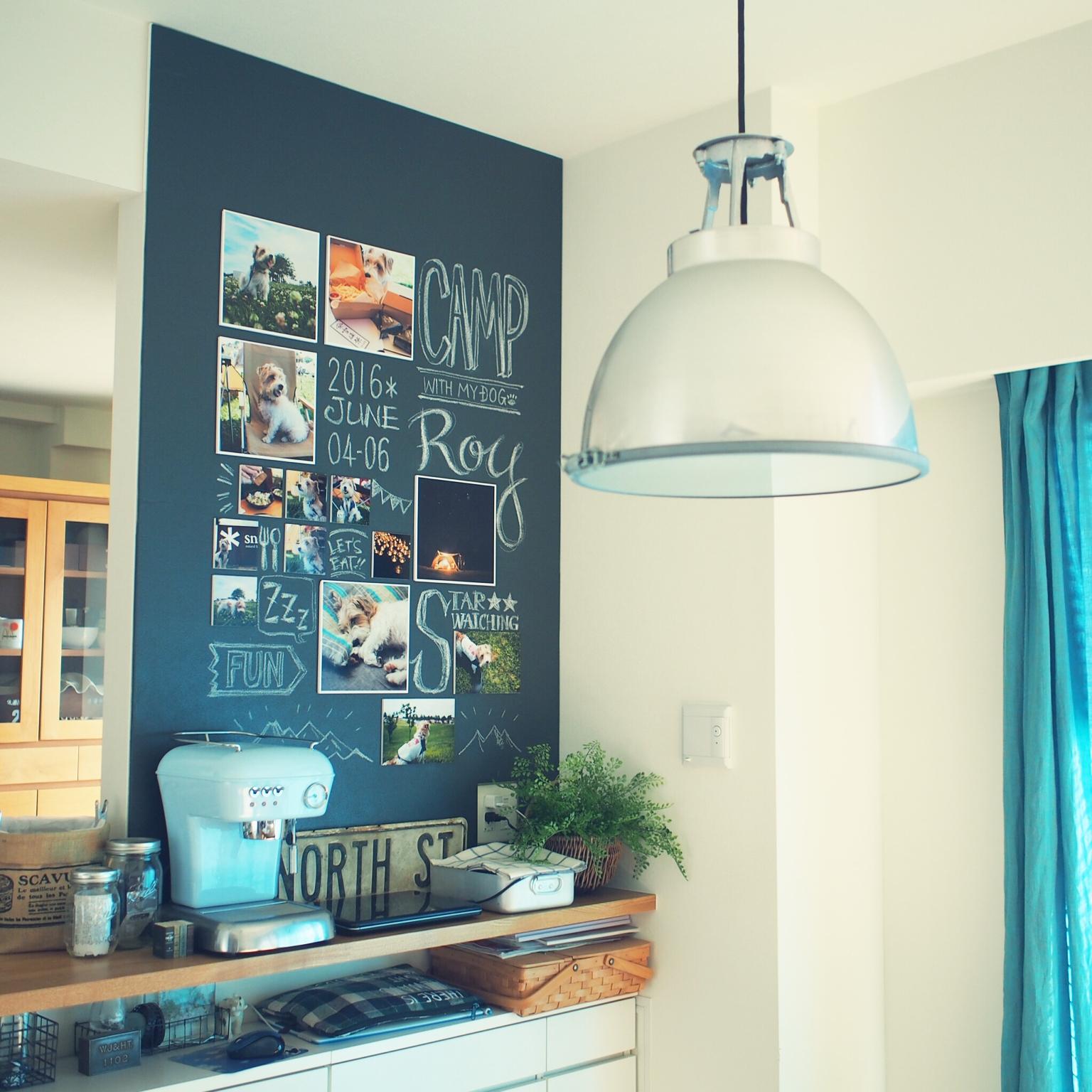 女性で、3LDK、家族住まいのDIY/カフェ風/黒板/チョークアート風/壁/天井についてのインテリア実例を紹介。