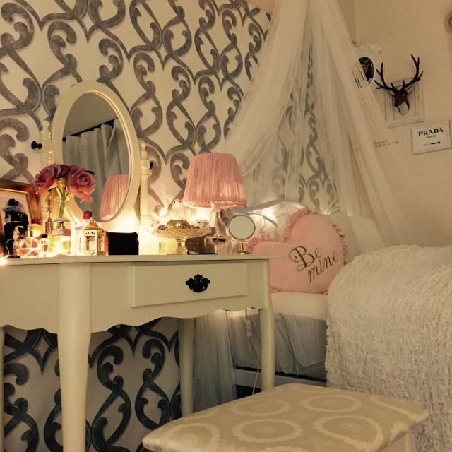 女子力高め♡リラックスできる、女の子の寝室
