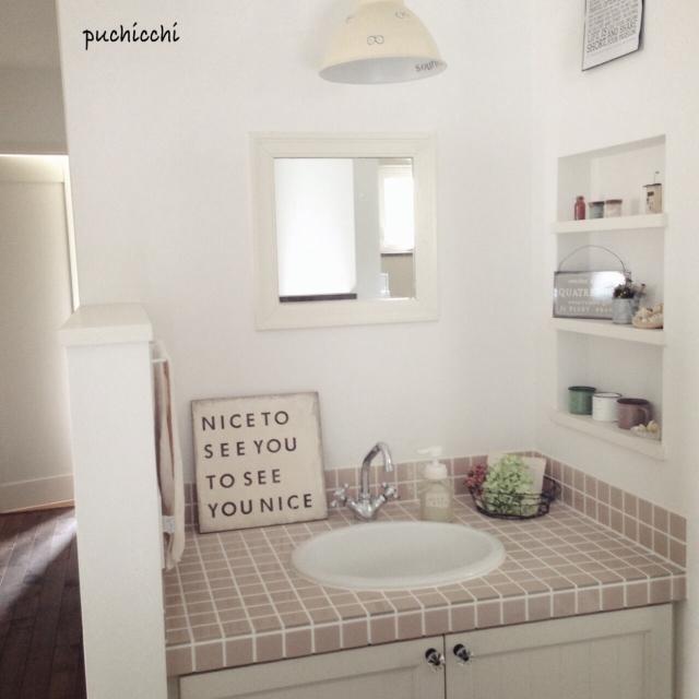 Bathroom,洗面所,プレート,いなざうるすさん,IKEAの照明,照明リメイク,2階洗面所のインテリア実例 | RoomClip (ルームクリップ)