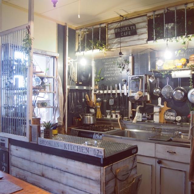 ラフさが魅力!ブルックリンスタイルのカフェ風キッチン