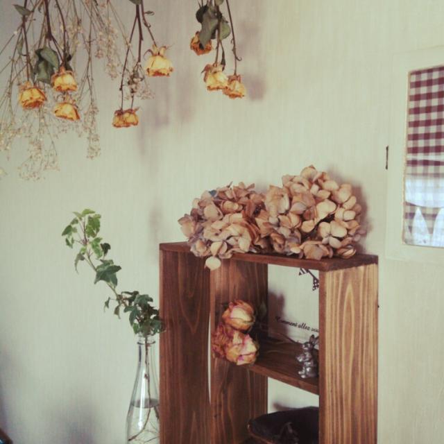 Kitchen,ナチュラル,handmade,ドライフラワー,セリア,薔薇,シェルフ,紫陽花,動物雑貨,NO GREEN NO LIFE,おはようございます*のインテリア実例 | RoomClip (ルームクリップ)