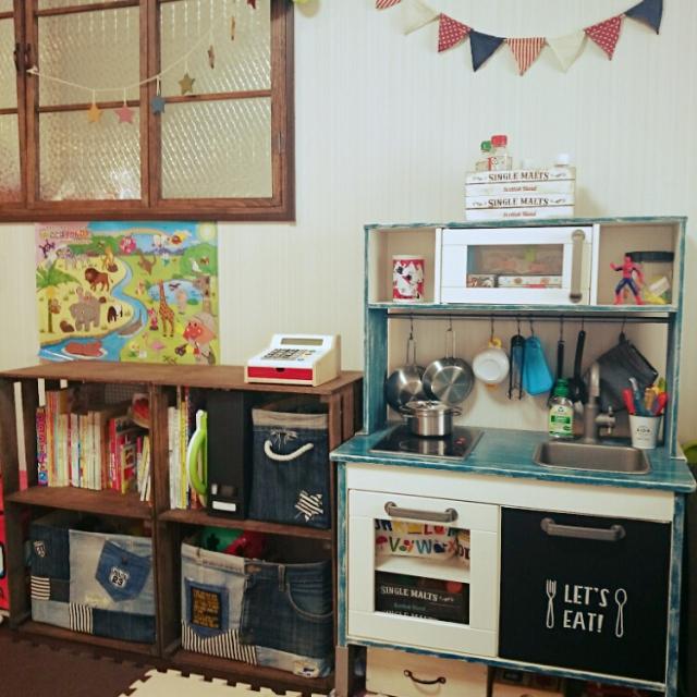 キッチン 手作りままごとキッチンカラーボックス : すのこ DIY」に関連する部屋 ...