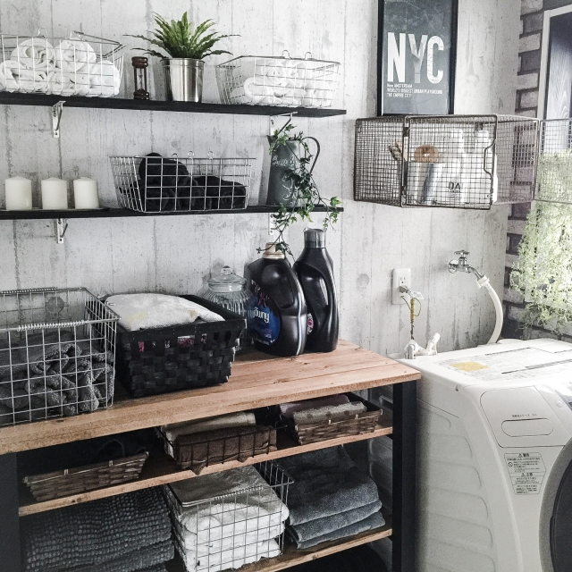 オープン棚で洗濯機周りをおしゃれにコーディネート♪
